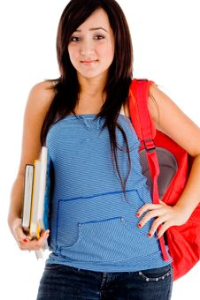 College Girl Posing With Bag And Books Royalty Free Stock Photos