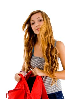Free Student With Her Open School Bag Royalty Free Stock Photos - 8118708