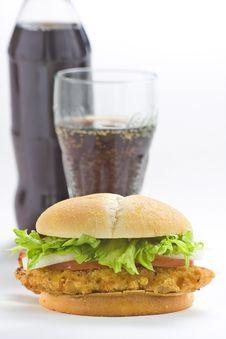 Free Crisp Chicken Burger Tomato Onion Cheese Lettuce Stock Image - 8119241