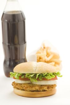 Free Crisp Chicken Burger Tomato Onion Cheese Lettuce Stock Photography - 8119322