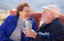 Free Happy Senior Adult Couple With Drinks Stock Photos - 8120583