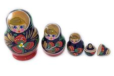 Russian Matryoshka Dolls Lined Up Stock Images