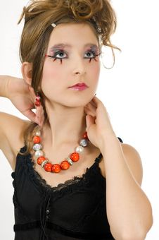 Fashion Girl With Special Eye Makeup And Black Top Royalty Free Stock Photo