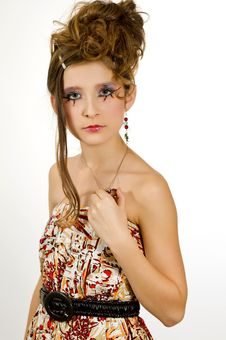 Fashion Girl With Special Eye Makeup Stock Photos