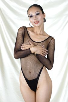 Sexy Asian Girl In Bodystocking Royalty Free Stock Photos