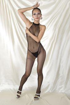 Sexy Asian Girl In Bodystocking Royalty Free Stock Image