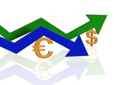 Euro And Dollar Arrows Stock Image