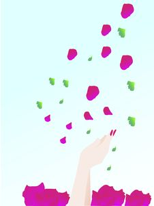 Hand Catching Petals Royalty Free Stock Photo