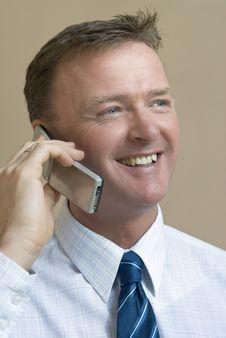 Free Happy Smiling Businessman On Phone Stock Image - 8124821