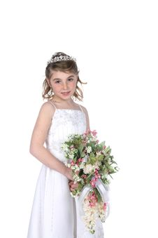 Free Pretty Girl In White Gown Holding Flowers Royalty Free Stock Photo - 8125965