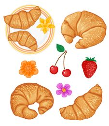 Free Set Of Tasty Croissants And Some Fruits Royalty Free Stock Photos - 8125988