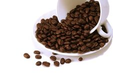 Free Coffee Beans In White Cup Stock Photos - 8126823