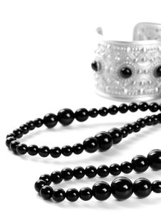 Free Bracelet And Black Necklace Royalty Free Stock Photography - 8127167
