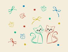 Vector Design With Cats Royalty Free Stock Image