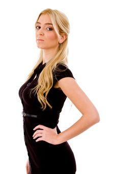 Side View Of Beautiful Woman Looking At Camera Royalty Free Stock Image