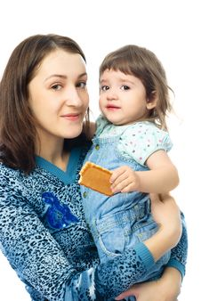 Young Mother With Her One Year Old Daughter Royalty Free Stock Photo
