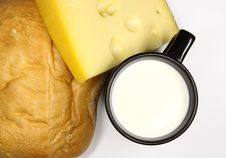 Free Black Cup Of Milk, Cheese And Bread Royalty Free Stock Image - 8129076
