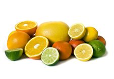 Free Assortment Of Citrus On White Royalty Free Stock Photos - 8129138