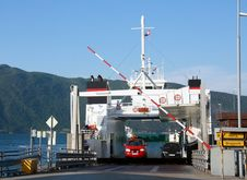 Free Ferry Unloading Cars On A Fjord Stock Photo - 8129820