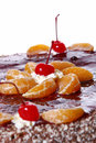Free Fruit Cake With Desert Cherry Stock Images - 8134244
