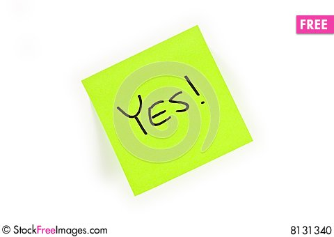 Post-it with YES! written on it Stock Photo