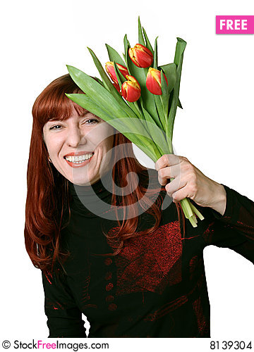 Free Bouquet From Tulips In A Gift Stock Images - 8139304