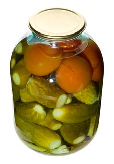 Free Big Jar With Cucumbers And Tomatoes Stock Photo - 8130500