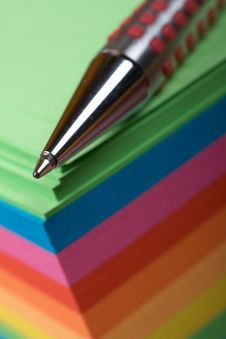 Free Ballpoint Pen On Colored Sheets Stock Image - 8130661