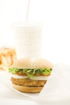 Free Crisp Chicken Burger Tomato Onion Cheese Lettuce Royalty Free Stock Photography - 8130747