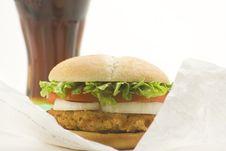 Free Crisp Chicken Burger Tomato Onion Cheese Lettuce Stock Photo - 8130790