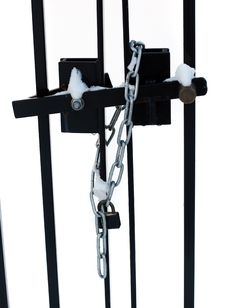 Free Padlock And Chain On Iron Gate Royalty Free Stock Photography - 8130827