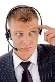 Free Thinking Businessman On Call Stock Photo - 8131150