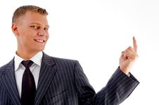 Free Portrait Of Smiling Pointing Businessman Stock Photography - 8131292