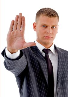 Free Businessman Showing Stopping Gesture Stock Images - 8131584