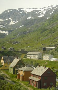 Some Houses In A Norwegian Valley Stock Photo