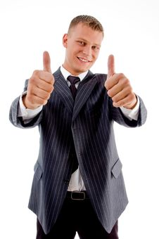 Free Businessman Showing Thumbs Up With Both Hands Royalty Free Stock Image - 8131666