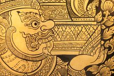 Free Details Of Thai Traditional Style Giant Painting. Stock Photo - 8132410