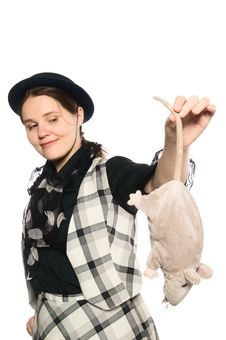 Free Trick Girl With Toy Rat Stock Photo - 8132870