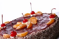 Free Fruit Cake With Desert Cherry Stock Photos - 8134443