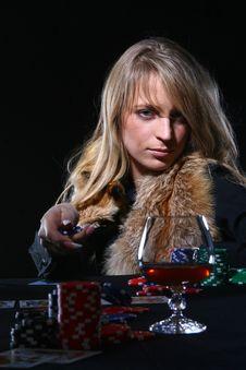 Free Beautiful Woman Who Playing Poker Royalty Free Stock Photo - 8135625
