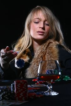 Beautiful Woman Who Playing Poker Royalty Free Stock Image