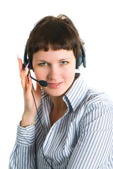 The Employee Of The Call Center Stock Photo