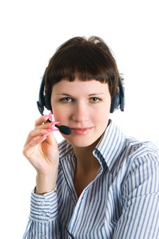 The Employee Of The Call Center Royalty Free Stock Images