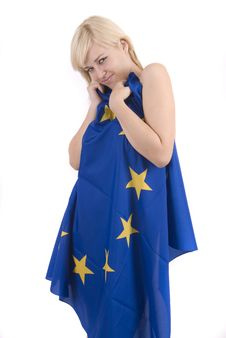 Blonde Woman With European Flag Royalty Free Stock Photography