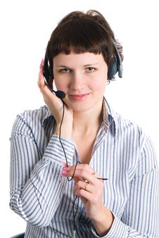 The Employee Of The Call Center Stock Images