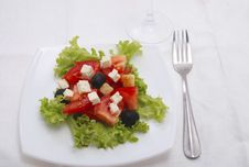 Free Salad With Tomato, Cheese, Olive Royalty Free Stock Photos - 8136438