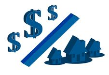 Money & House Blue Edition Stock Photo