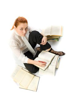 Free Woman Sitting On Floor With Books. Stock Photography - 8137012