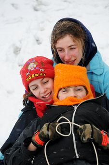 Free Children On Toboggan In The Snow Stock Photos - 8137203