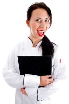 Free Female Chef Writing Down The Menu Stock Photo - 8137980